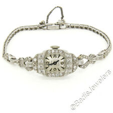 Antique Art Deco Platinum 1.16ctw Diamond Bracelet Swiss Belvil 17j Wrist Watch