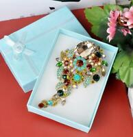 Elegant Flower Rhinestone Cluster Long Pendant Brooch Pin Multi-color Crystal
