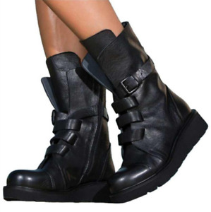 Ladies Buckle Mid Calf Boots Chunky Platform Locomotive Biker Combat Zip Shoes