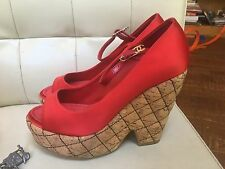 Chanel Red Satin Quilted Cork Wedge Pump Size 37 CC