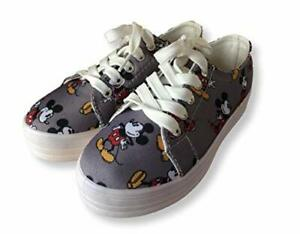 Girls Grey Mickey Mouse Lace up Pumps Canvas Shoes