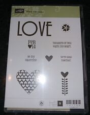 """Stampin Up! Rubber Clear Mount Stamp Set """"FILLED WITH LOVE"""" Valentine Love Heart"""