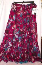 Size 14 16 Peasant Skirt Fuchsia Teal Crinkle Reversible Mix Nouveau New Tags
