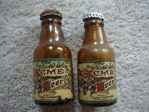 ACME BEER Vintage MINI MINIATURE BEER BOTTLE SALT & PEPPER SHAKERS