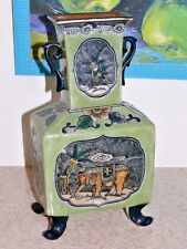 VTG Baum Bros Formalities Asian Elephant & Palm Bohemian Porcelain Czech Vase