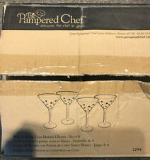 PAMPERED CHEF Pink White Polka Dots Tall Martini Champagne Glasses Set of 4 NIB