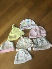 Small Bundle Of  7 Baby Girl Cotton Hats 0-6 Months
