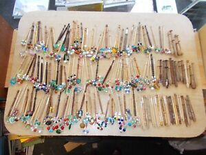 194 x MIXED LOT collection of LACE making BOBBINS. various wood/styles, spangled