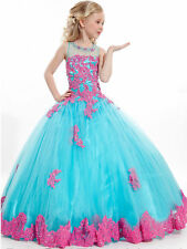 Tulle&lace Flower Girls Kids Pageant Dresses Formal Party Prom Princess Gowns