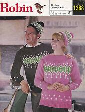 Vintage Robin Knitting Pattern Ladies/Mens Fair Isle Sweaters/Hats Chunky 32-44