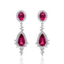 Natural Rubelites 8.27 carats set in 14K White Gold Earrings
