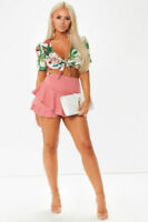 Womens Celebrity Layered Ruffled Frill Storks High Waisted Mini Skirt Shorts