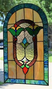 Victorian Style Stained Glass Window Panel  ( 13.5 x 23 )