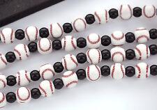 1 Strand BASEBALL Round Acrylic Beads bubblegum beads 11mm bac0105