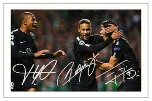 MBAPPE NEYMAR CAVANI Signed Autograph PHOTO Fan Gift Signature Print PSG Soccer