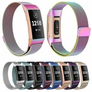 NEW Fitbit Charge 3 Band Belt Metal Stainless Steel Milanese Wristband Strap AU
