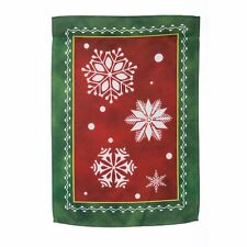 Winter Nordic White Snowflakes  with Red and Green Background Mini Garden Flag