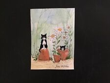 aceo original watercolour painting By Toni Cat Playing Around The Pots
