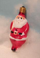 Vtg Milk Glass Santa w/ toy sack C7 Candelabra Xmas Light Bulb~Works