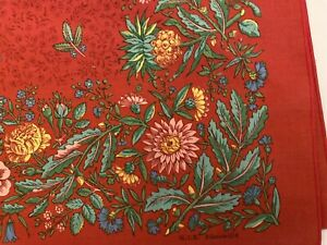 "M.I.E. Ribeauville Soft Cotton Red Floral Table Topper 36"" Square France"
