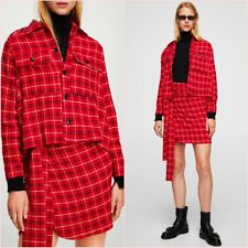 SALE Red Checked Overshirt Long Sleeves Blouse Shirt Top S M UK 6 8 US 4 6 Zara