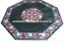 Green Marble Top Coffee Table Carnelian Inlay Floral Marquetry Patio Decor H2876