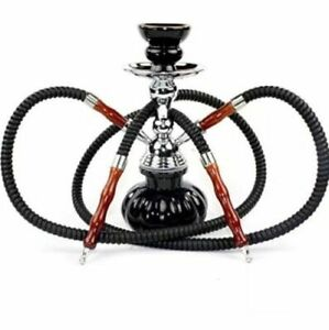 Hookah 2 Hose Connection Smoking Nargila Glass Water Pipe Complete Narghila Set