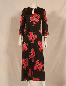 60S FRENCH VINTAGE FLOWER PRINT HIPPY MAXI - DRESS -  UK 10 / FR 38