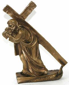 Hand Made Jesus Carrying Cross Cold Cast Bronze Sculpture Figurine Statue Figure