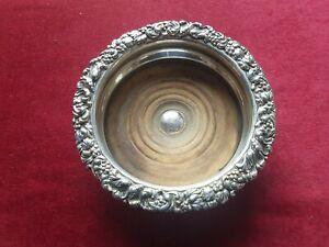 antique wine bottle holder silver plated wood