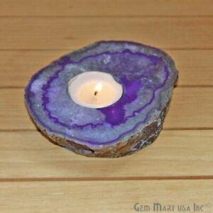 Natural Agate Candle Holder Crystal Votive Cluster Tealight Spiritual Home Decor