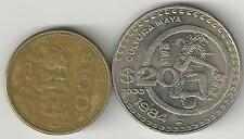 2 DIFFERENT COINS from MEXICO - 20 & 100 PESOS (BOTH DATING 1984)
