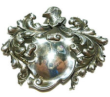 LARGE VINTAGE CINI STERLING SILVER KNIGHT WARRIOR SHIELD ENGRAVE BROOCH PIN