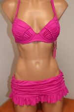 NWT Betsey Johnson Swimsuit Bikini 2pc set Sz S Skirt Pink