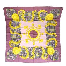 Authentic CELINE Logos Scarf Handkerchief 100% Silk Purple Italy Vintage 03J137