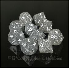 New 10 D10 Clear Glitter Rpg Game Dice Set in Tube WoD Vampire Ten Sided Koplow