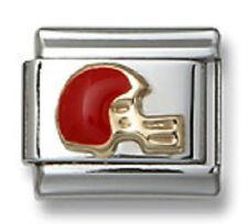 Authentic Italian Charm Link Gold Enamel Red Football Helmet 9mm Fit Bracelet