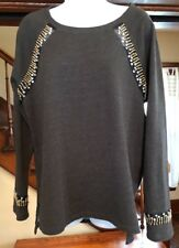 Saks Fifth Avenue RED Collection Embellished Womens Beaded Sweatshirt Size Large