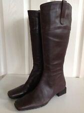 SHOE TAILOR dark brown lovely soft leather low heel flat below knee boots UK 4