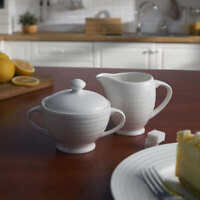 Mikasa Swirl Bone China Sugar Bowl with Cover & Creamer Set