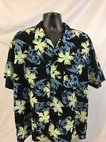 Pineapple Connection Blue Hawaiian Button-Down Short Sleeve Shirt Size  L Floral
