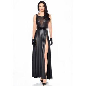 Patrice Catanzaro, Klaudia, Robe longue sexy fendue en wetlook laqué noir