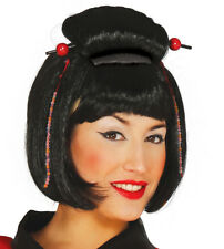 Ladies Black Japanese Wig Fancy Dress Chinese Oriental Geisha Costume Hair NEW
