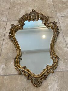 """BOMBAY COMPANY GOLD MIRROR 2002 SWIRL FLOWER HARD TO FIND DECOR 27"""" Tall"""