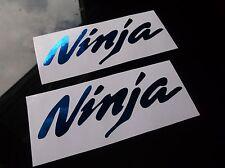 BLUE CHROME NINJA DECALS 2PC kawasaki zx6 zx9 zx10 zx11 zx12 zx14 tank fairing