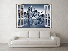 NEW YORK GRIGIO 1 scena 3d Full Color Finestra Casa Wall Art Decalcomania Murale Adesivi