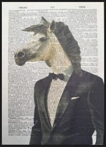 White Horse Head Print Vintage Dictionary Page Wall Art Picture Animal Clothes