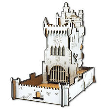Medieval WHITE CASTLE. Mechanical DICE TOWER with dice tray and moving figures.