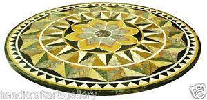 "30""x30"" Green Marble Coffee Table Top Pitreadura Mosiac Inlay Stone Decors Arts"