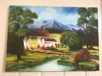 Oil Painting On Canvas Lanscape Signed